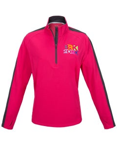 Pink/Grey Ladies 1/4-Zip Pullover w/BRK 2020 Embroidery