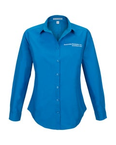 Coastal Blue Ladies Long Sleeve Carefree Poplin Shirt w/Berkshire Hathaway Embroidery