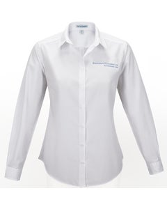 White Ladies Long Sleeve Carefree Poplin Shirt w/Berkshire Hathaway Embroidery
