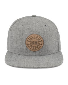 Heather Grey Medium Profile Acrylic/Wool Flat Bill Cap w/Leather BH Patch