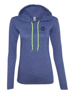 Heather Blue Ladies' Lightweight Long-Sleeve Hooded T-Shirt w/Berkshire Hathaway Silkscreen